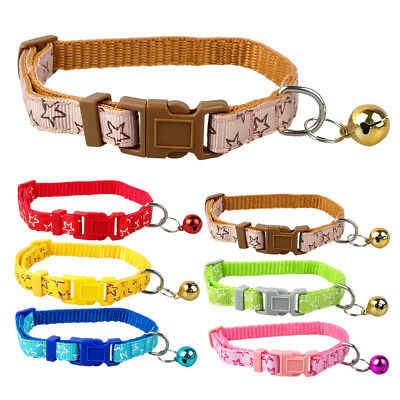 """Berry-Pet 8-13"""" Star Print Nylon Small Dog Puppy Cat Collar with Bell Adjustable"""