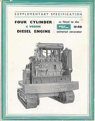 Four Cylinder 4 VROHN diesel engine as fitted to the 19-RB universal excavator