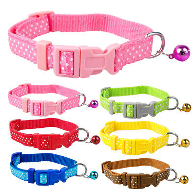 "Polka Dot Nylon Small Dog Puppy Cat Collars with Bell Neck for 8-13"" Adjustable"