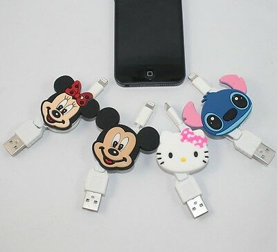 Mickey Minnie Hello Kitty Retractable Data Line Charging Cable for iPhone 6 5
