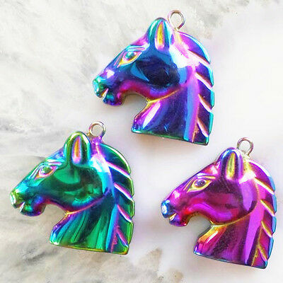 G68989 Beautiful Carved Plated-color Hematite Horse head Pendant Bead 3pcs
