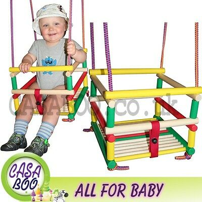 BABY Rope GARDEN  WOODEN SAFETY SWING  + HOOKS NEW  APPROVALS  CE OUTDOOR INDOOR