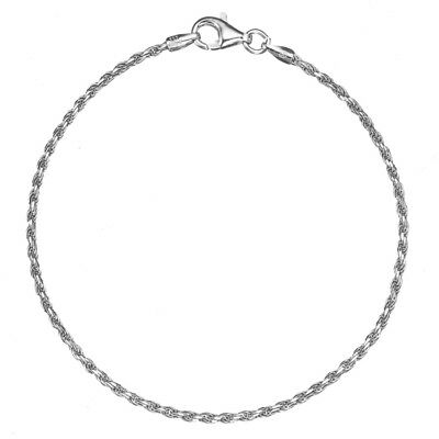 Solid 925 Sterling Silver 1.7mm Italian Diamond Cut Twisted Rope Chain Anklet