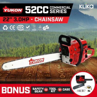 YUKON TRADESMAN SERIES PETROL CHAINSAW 22 inch BAR 2-STROKE TREE LOG CHAIN SAW