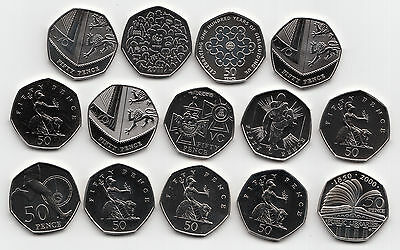 UK Fifty Pence Coins 50p 2000 to 2019 Choose your Year - Brillant Uncirculated