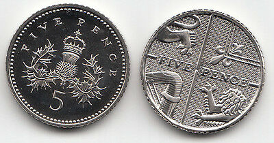 UK Five Pence Coins 5p 1982 to 2019 Choose your Year - Brilliant Uncirculated