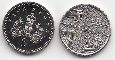UK Five Pence Coins 5p 1999 to 2017 Choose your Year - Brilliant Uncirculated