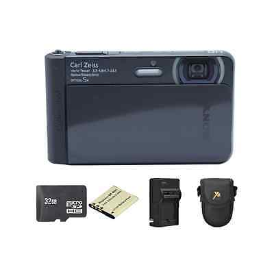 Sony Cyber-shot DSC-TX30 Digital Camera - Black + 2 Batteries, 32GB & More