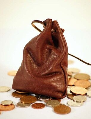 Medieval/LARP/SCA/Pagan/Reenactment Dark Brown Leather DRAWSTRING MONEY BAG