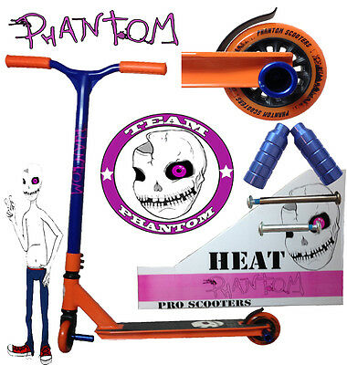 PHANTOM FIXED BAR 360 DEGREE INFERNO HEAT PRO STUNT SCOOTER  Now with Blue Pegs
