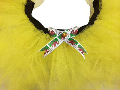 Yellow Daffodil Tutu Skirt Welsh Rugby 80s Fancy Dress Red Dragon Bow Wales Flag