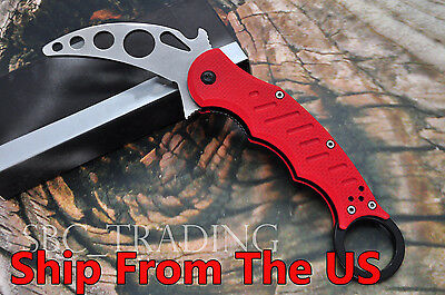 Karambit Folding Metal Blade Trainer Training Knife G10 Handle (Red)