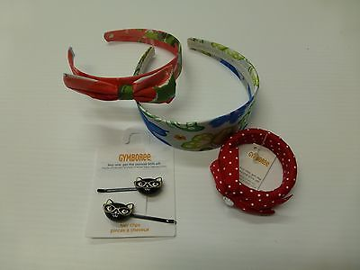 4 Piece Gymboree Girls Floral Butterfly Headband Kitty Hair Clips Bracelet New