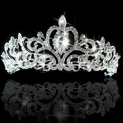 Wedding Bridal Princess Austrian Crystal Hair Accessory Tiara Crown Veil Silver