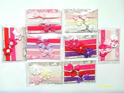 Baby Girl 3 Pack Elasticated & Stretchy Headbands With Various Designs & Colours