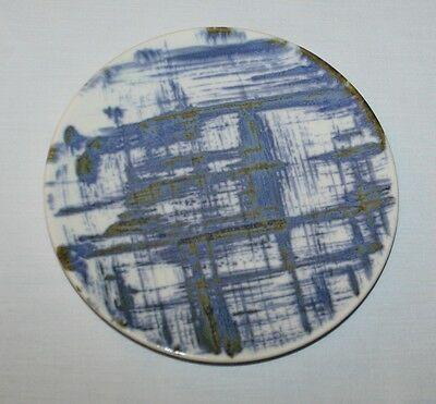 Bread Plate Blue Dell Edwin Knowles Kilncraft Kalla Lines on White Gold Accents