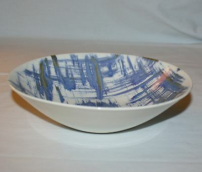 Vegetable Serving Bowl Blue Dell Edwin Knowles Kilncraft Kalla Lines Gold Accent