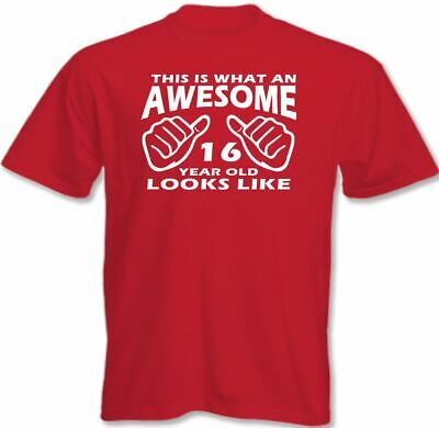 This Is What An Awesome 16 Year Old Looks Like Mens Funny 16th Birthday T-Shirt