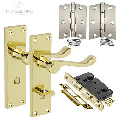 Polished Brass Bathroom Door Handles Pack with Handle on Plate,Lock & Hinges NEW