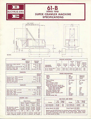 Bucyrus Erie 61-B series Two Super Crawler Machine specifications