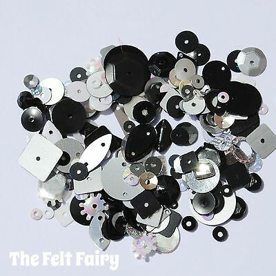 Mixed Flat, Cup and Shaped Sequins 100+ Loose Sparkling Black and Silver Mix