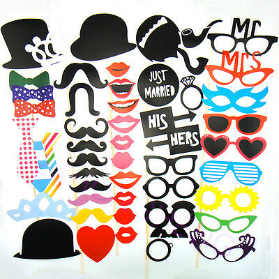 50 Photo Booth Props Moustache on A Stick Weddings Christmas Birthday Party Fun