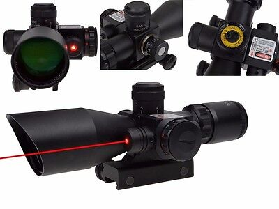 Tactical 2.5-10x40 Rifle Scope Mil-dot Dual illuminated w/ Red Laser & Mounts