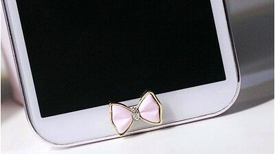 3D Diamond Pink Bow Home Button Sticker For Samsung Galaxy s3,s4,s5,s6 Note2,3,4