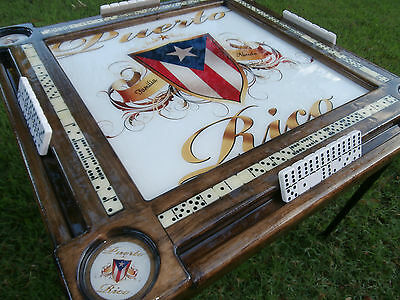 Domino Tables by Art with Puerto Rican Pride Top & P.R. Cupholders Personalized