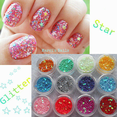 12 Colors Star Nail Art Shiny Glitter Powder Sheets Tips Decoration DIY
