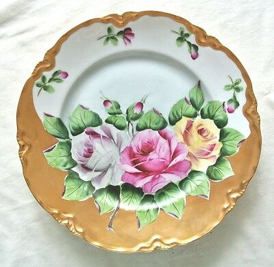 HUTSCHENREUTHER Plate Hand-Painted ROSES Elaborate GOLD, exquisite design