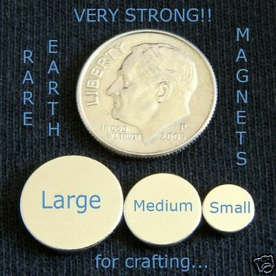 "50 - SMALL Rare Earth Neo Magnets 1/4 "" x 1/16 "" Inch Disc Round Bottle Caps Etc"