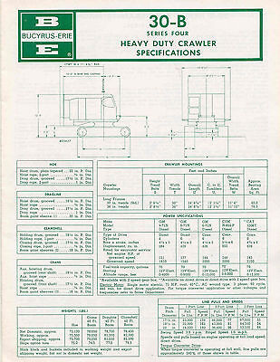 Bucyrus-Erie 30-B Series Four Heavy Duty Crawler Specifications