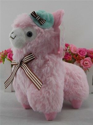 "Japan Amuse Alpacasso Alpaca Pink 7"" Plush Toy With Hat Adorable"