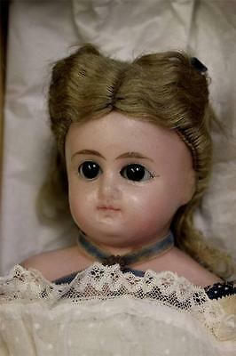 """14"""" Antique POURED WAX DOLL 1870s Sleep Eyes, Original Clothes,Wig Unplayed with"""