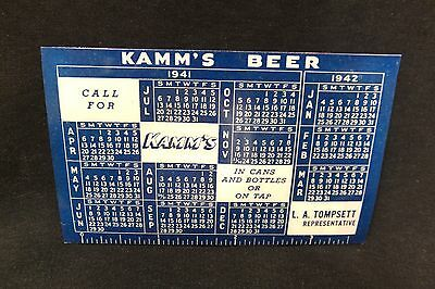 Kamm's Beer Protective Holder / Calendar with 1942 Fishing License - Michigan