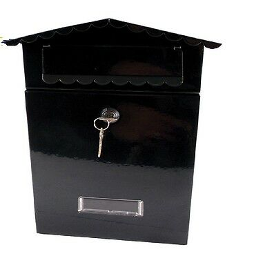 Small Secure Letter Box Postbox Indoor/outdoor Lockable Garden Mailbox Black