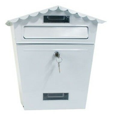 Small Secure Letterbox Postbox Indoor/outdoor Lockable Garden Mailbox White