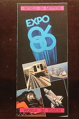 Worlds Fair Expo 1986 Vancouver, British Columbia Fold-Out Brochure EXCELLENT
