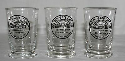 "3 Golden Gate Casino 4"" Juice Glasses Downtown Las Vegas Nevada 6 Ounces"