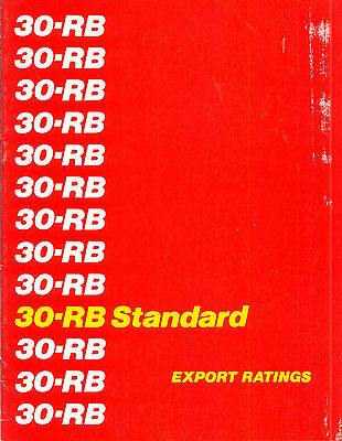 30-RB Standard Export Rating specifications book