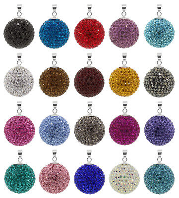 Sterling Silver Shamballa Ball Pendant with PRECIOSA Crystals * Many Sizes
