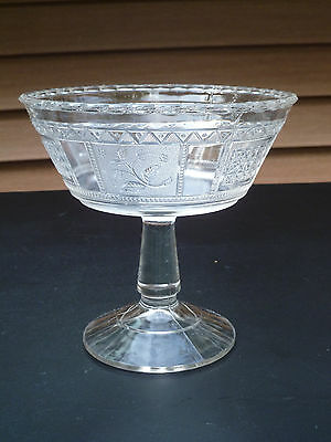 """EAPG Bryce Bros. glass Compote """"PANELLED FORGET ME NOT"""" 1870s"""