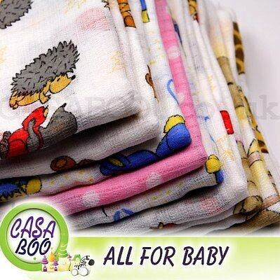 1-12 PCS COLORFUL/WHITE BABY REUSABLE WIPES NAPPY BIBS DIAPER 70x80 MUSLIN tetra