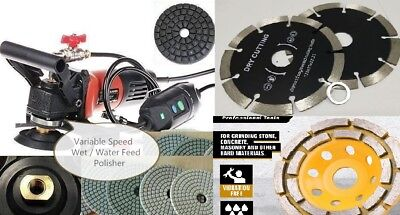 Variable Speed Concrete Wet Polisher Cutter Diamond 15 Pad 3 Cup 10 Blade Stone