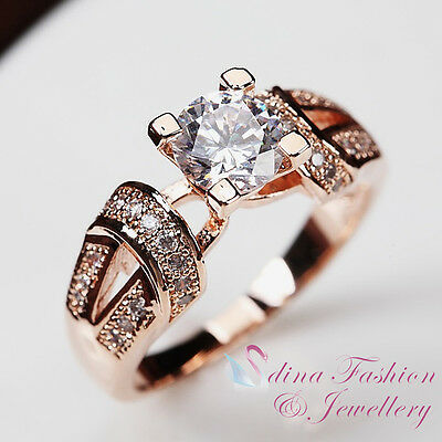 18K Rose Gold Plated Simulated Diamond 0.65 Ct Unique Design Twisted Band Ring