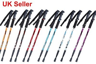 2 x Telescopic 4-Section Antishock Trekking Walking Hiking Stick Pole