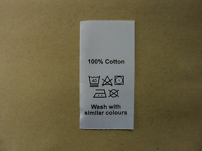 50 wash care clothing labels / garment labels cotton