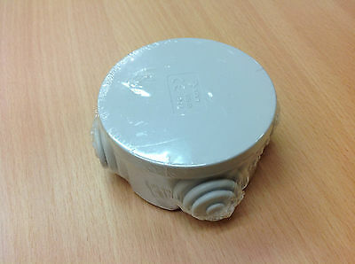 Waterproof Round Junction Box 65 x 35 IP44 PVC Adaptable Box with Grommets