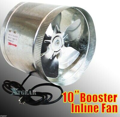 "10"" Duct Booster Inline Blower Fan Exhaust Vent Air Cooled Hydroponic110V / 60Hz"